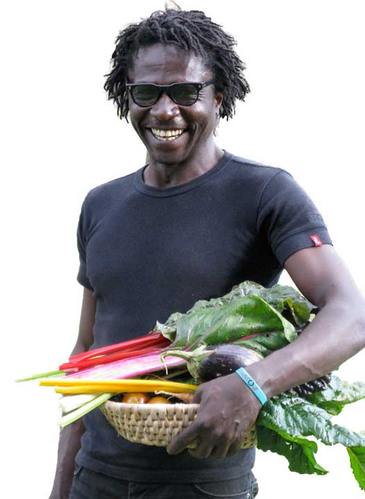 Memel.Global man with vegetables